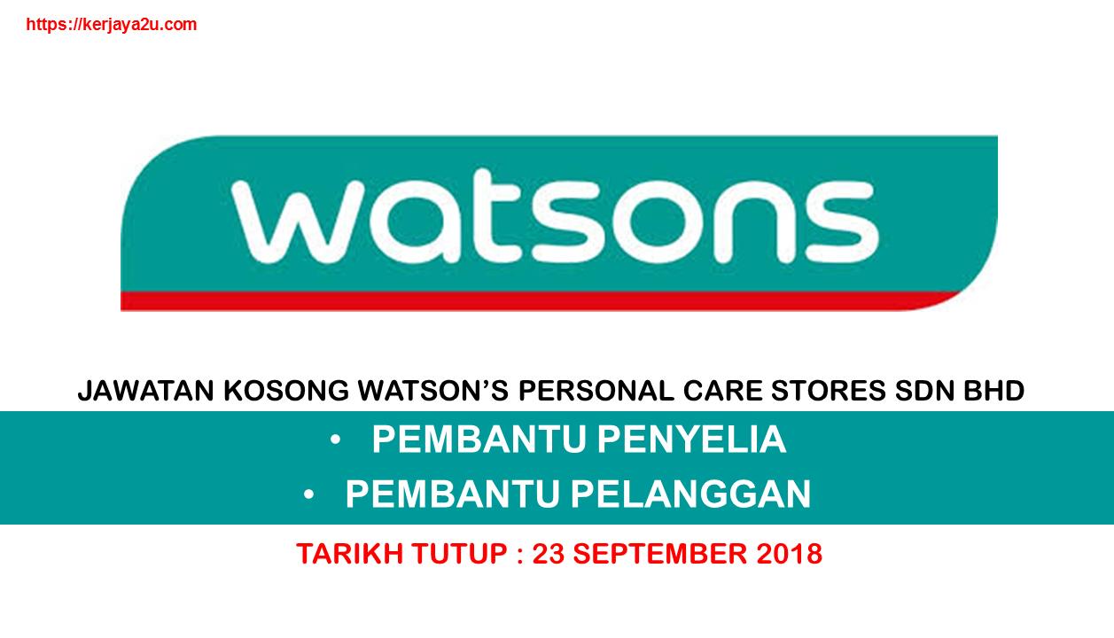 JAWATAN KOSONG TERKINI WATSON'S