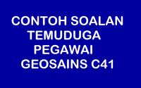 CONTOH SOALAN TEMUDUGA PEGAWAI GEOSAINS C41