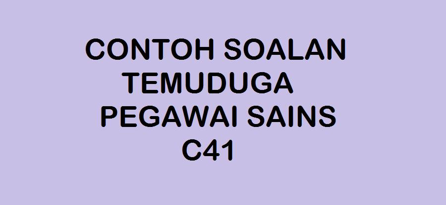 CONTOH SOALAN TEMUDUGA PEGAWAI SAINS C41