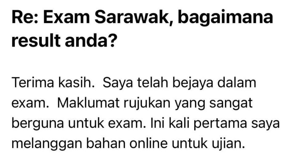 testimoni Rujukan REQT Sarawak